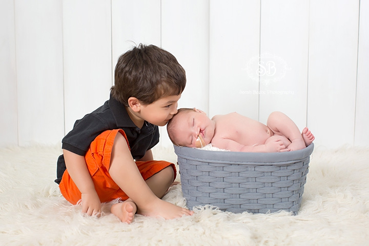 Sweet Little Newborn Boy and Big Brother in Kelowna SBP Studio