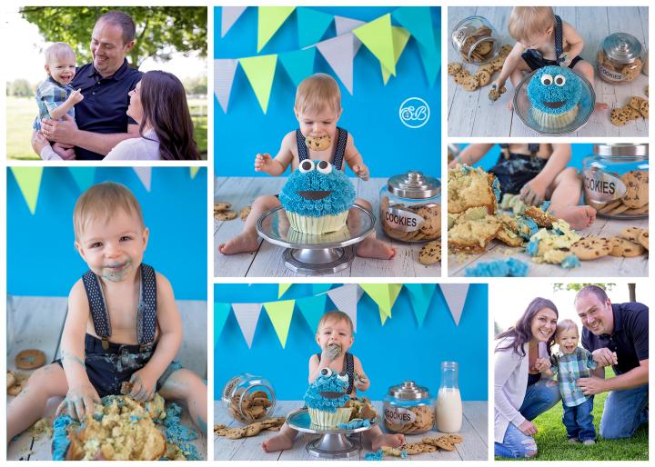 Adorable Cookie Monster Cake Smash