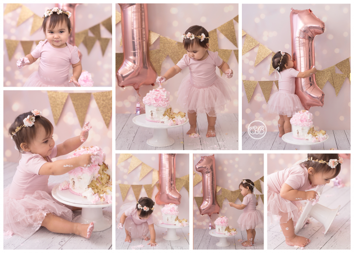 Adorable Girly Cake Smash {Pink & Gold Theme}