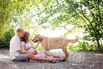 Beautiful Okanagan Couple at Mission Creek Park Maternity Session with Family Pet