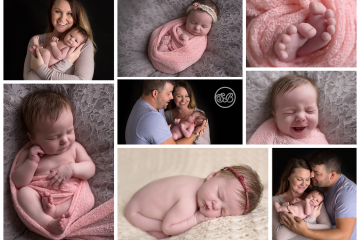 Beautiful Baby Girl with Family Photos in Studio